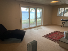 Walk-out basement on lake side with brand new sliding glass door