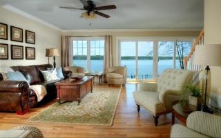 Living room with beautiful views of Owasco Lake