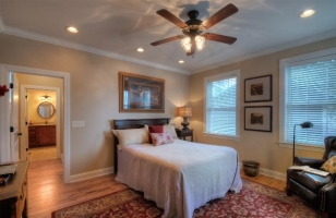 Master bedroom with queen bed on main level